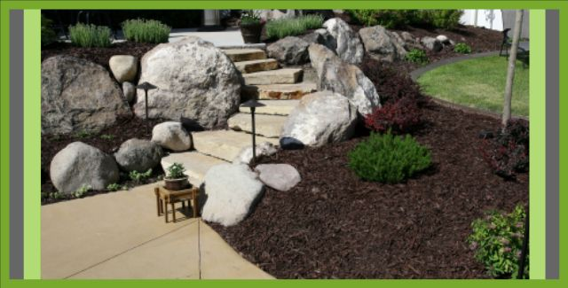 landscaping and stone steps